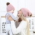 Wholesale fur pompom hat Toddler Baby Kids Warm Winter Wool Crochet Knit Beanie 6
