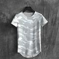 Men T Shirt Print Casual Curved Hem Hip hop Fit Slim Camo Graphic Tshirt Outdoor