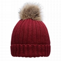 Wholesale acrylic beanies rib knitted pom pom beanie sprout winter hats
