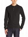 Wholesale henley shirt long sleeve 100% cotton mens t-shirt blank tee custom