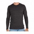 Custom 100% Merino Wool Shirt Long Sleeve Thermal Shirt Plain Round Neck T Shirt