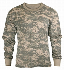 Wholesale Camo long sleeve t shirts custom army t shirt 60 cotton 40 poly casual