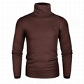 Wholesale plain t shirt 100% cotton slim fit full sleeve turtle neck t-shirt