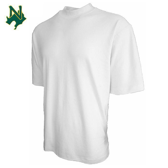 100% cotton turtleneck t-shirt white plain short sleeve mock turtleneck tee