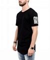 Black Extra Long Hem T Shirt Plain 65% Polyester 35% Rayon Diy Patch