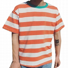 Wholesale striped t-shirt men Lightweight Hip Hop curved hem tee Hipster summer