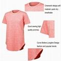 Mens Gym Short Shirt Extended Elong Drop Tail Scallop Curved Hem T shirt