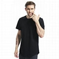 Guangzhou oem tshirt manufacturers custom longline curved hem crewneck t-shirts