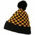 Hot sale checkered pom pom beanie soft touch thermal winter hats cuffed beanie