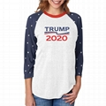Wholesale Raglan Trump T Shirts 3/4 Sleeve Baseball Tee Printed Election Shirt