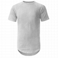 Hot sale plain 100% cotton t shirts short sleeve mens scoop scallop hem t shirts