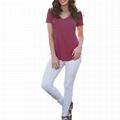 Wholesale Vneck Tshirt Women Summer Plain Organic Cotton Tshirt OEM