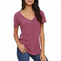 Wholesale Vneck Tshirt Women Summer Plain Organic Cotton Tshirt OEM