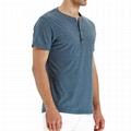 Men's Casual Slim Fit Short Sleeve T-Shirts Cotton Plain Tshirt Mens Henley