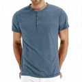 Men's Casual Slim Fit Short Sleeve T-Shirts Cotton Plain Tshirt Mens Henley