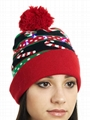 Light Up Gingerbread Christmas Hat Led Lights Beanie Machine Knitted cap beanie