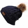 Red pom pom beanie knit men knitted beanies College knit hat custom logo 3