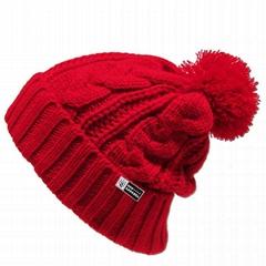 Red pom pom beanie knit men knitted beanies College knit hat custom logo