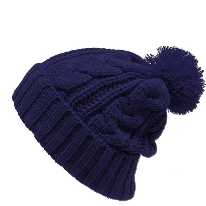 Red pom pom beanie knit men knitted beanies College knit hat custom logo 4