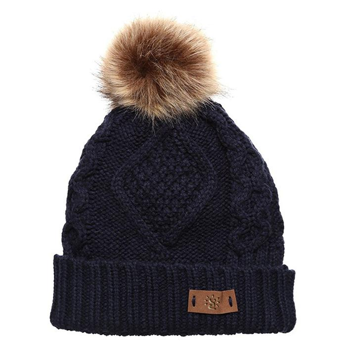 Red pom pom beanie knit men knitted beanies College knit hat custom logo 6