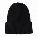 Custom blank acrylic beanie mens skullie ribbed fold up knitted beanies hat