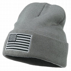 Custom logo beanie embroidered beanie American flag hat winter knitted hats