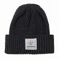 Custom woven label watch cap knitted ribbed beanie cuff acrylic winter hat