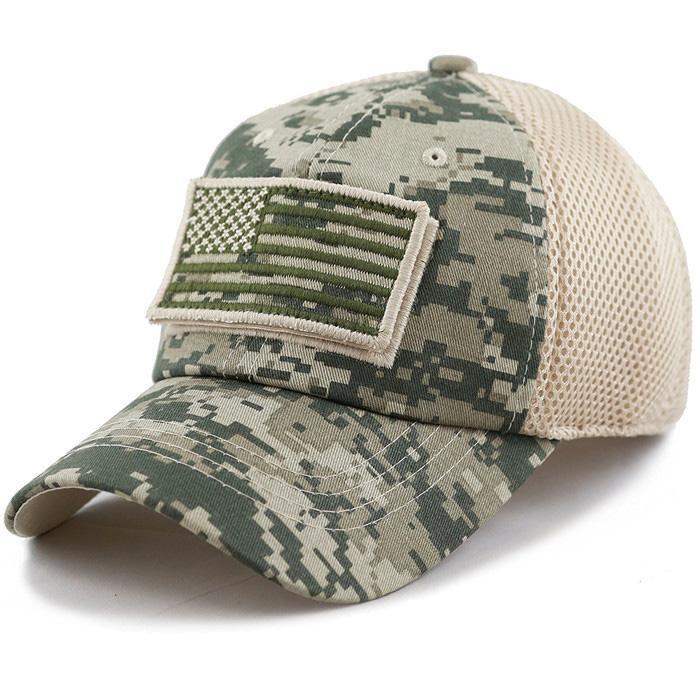 Stylish hats camo mesh back hats unstructured 6 panel baseball cap American flag 4