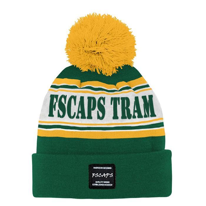 Low Moq Sport Beanie Pom Jacquard Team Winter Hat Knitted Custom Logo Beanie Hat