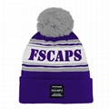 Low Moq Sport Beanie Pom Jacquard Team Winter Hat Knitted Custom Logo Beanie Hat
