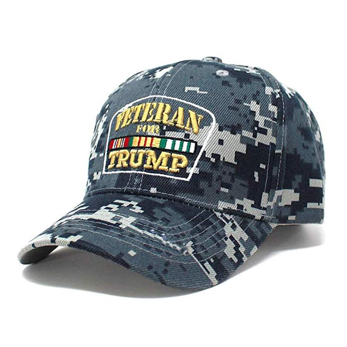 Trucker Hat Veterans for Trump Camouflage Baseball Cap HooK and Loop Closure Hat 1