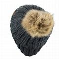Custom Beanie Thick Cable Knit Faux Fuzzy Fur Pom Fleece Lined Skull Cap Beanie