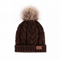 Fashion Cashmere Knitted Beanie Hats Custom Leather Patch Women Knitted Beanie