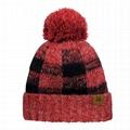 OEM Stretch Pom Pom Fuzzy Lined Buffalo Plaid Cuff Beanie Hat Checked Pattern