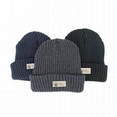 Winter Beanie hats Ski Warm Knitted Thermal Black Woolly Knit Custom beanie