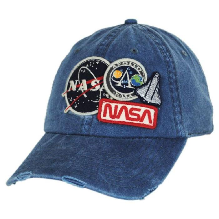 Iconic Embroidered Patch Distressed Dad Hat NASA Vintage Washed Cotton Cap 1