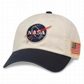 Iconic Embroidered Patch Distressed Dad Hat NASA Vintage Washed Cotton Cap