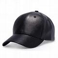 Winter Solid Plain PU Leather Baseball Cap 6 Panel Men's Outdoor Baseball Hats