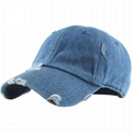 Hot sale 6 panel unstructured hat washed cotton denim distressed baseball cap