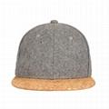 Curved brim cork hat 6 panel hip hop baseball cap adjustable strap snapback cap