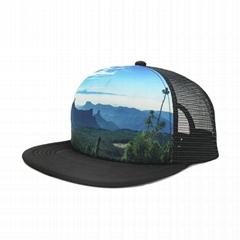 Custom 5 panel cap picture printing blank mesh trucker hat cap for sublimation