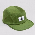 Custom Embroidery Woven Label Washed Cotton Green 5 Panel Cap Organic Caps
