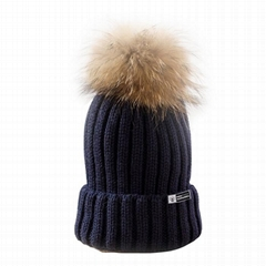 Classic real fur pom pom winter hat knitted beanie warm ski cap top ball tuque