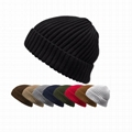Wholesale plain beanie custom fisherman winter knitted hat crochet cuff beanies