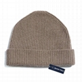 Wholesale Custom Soft Cashmere Beanie Knit Thick Winter Beanie Ribbed Cuffed Hat
