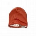 Wholesale women solid satin lined beanie hat custom patch skull cap beanie