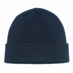 Wholesale plain weave knit acrylic custom patch winter beanie custom toque