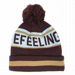 The Latest Wholesale Custom Knitted Jacquard Pom Pom Beanie Beanie With Your Own