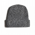 Custom Wool Heather Grey Knitted Ribbed Toque Beanie Leather Label Keep Warm