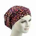 Fashion Leopard Print winter hats spandex Fabric Satin Lined Organic Beanie hat